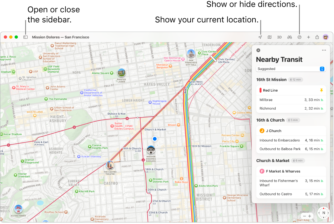 A Maps window showing how to get directions by clicking a destination in the sidebar, how to open or close the sidebar, and how to find your current location on the map.