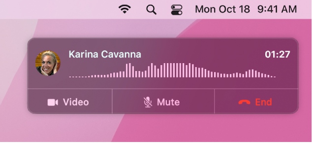 A partial Mac screen showing the call notification window.