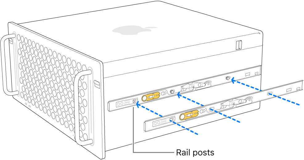 Mac Pro with an inner rail being attached to its side.
