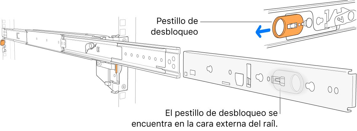 Un conjunto de riel extendido con el pestillo de retención resaltado.