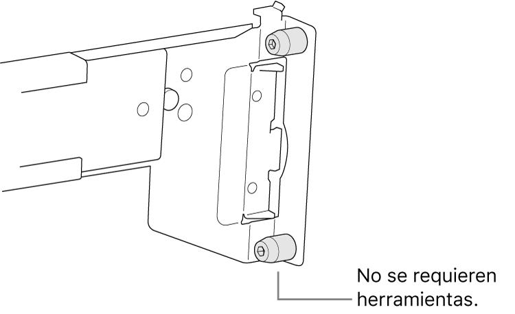 Un conjunto de riel que encaja en un rack de orificios cuadrados.