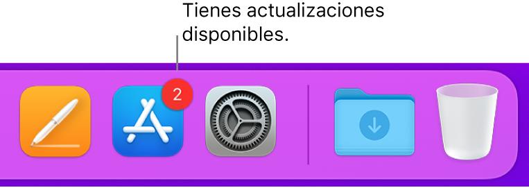 Sección del Dock donde se muestra el icono de AppStore con un indicador que señala que hay actualizaciones disponibles.