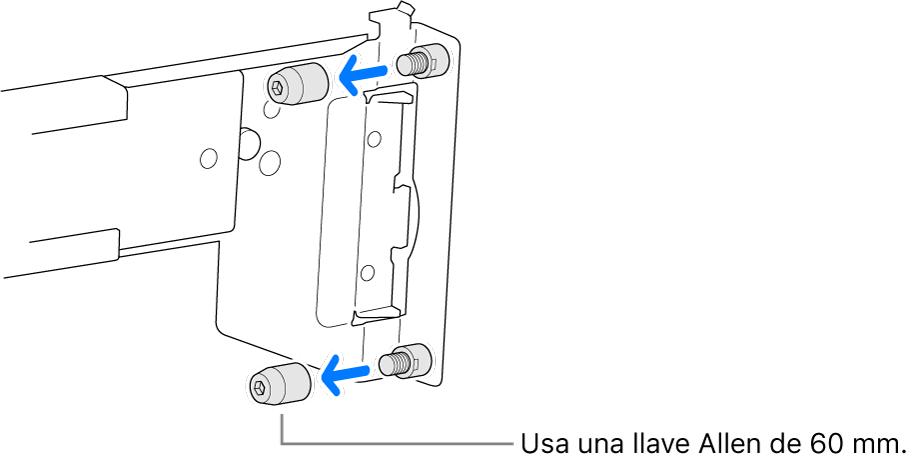 Un conjunto de riel que encaja en un rack de orificios redondos.