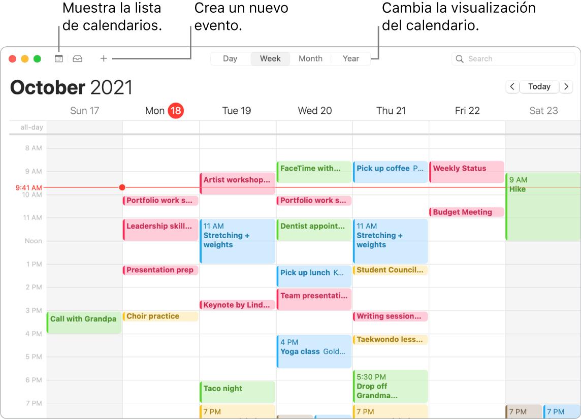Una ventana de Calendario donde se muestra cómo crear un evento, cómo mostrar la lista de calendarios y cómo seleccionar la vista Día, Semana, Mes o Año.