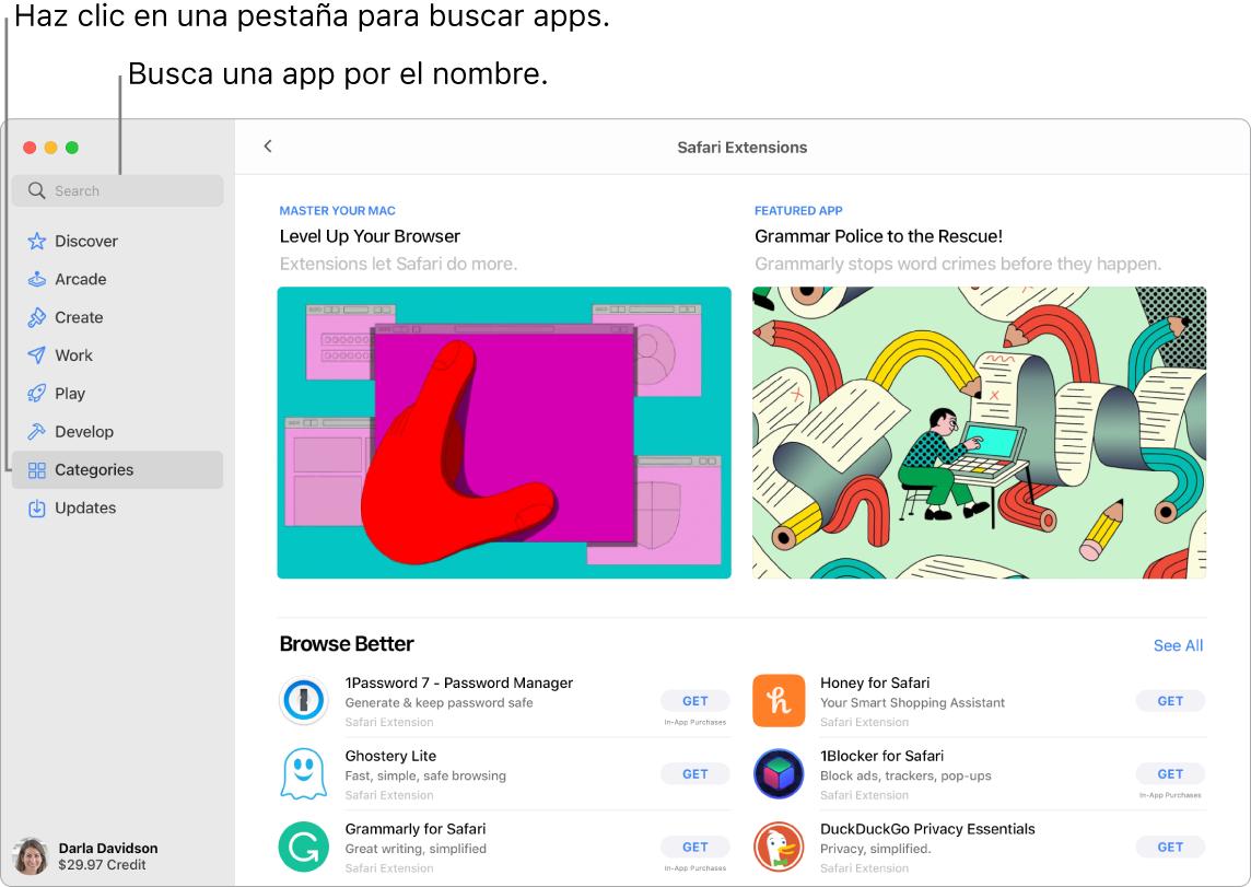 Ventana de AppStore que muestra un campo de búsqueda y una página de extensiones de Safari.
