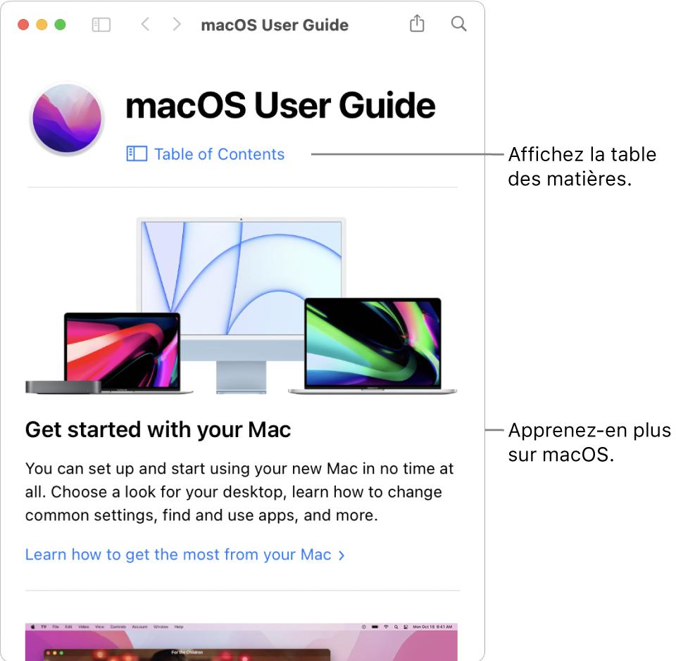 La page d'accueil du Guide d'utilisation de macOS présentant le lien Table des matières.