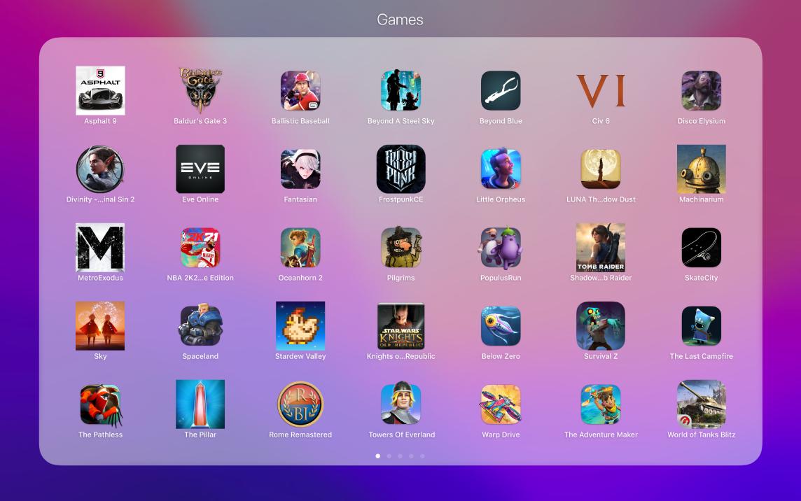 Des apps de jeu dans le dossier Jeux du Launchpad.