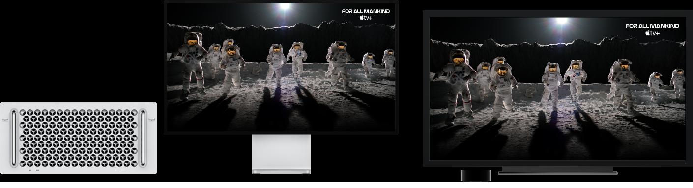 MacPro avec son contenu recopié sur un grand téléviseur HD à l'aide d'une AppleTV.