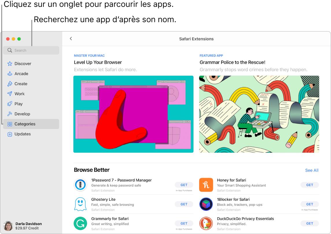 La fenêtre de l'AppStore affichant le champ de recherche et une page d'extensions Safari.