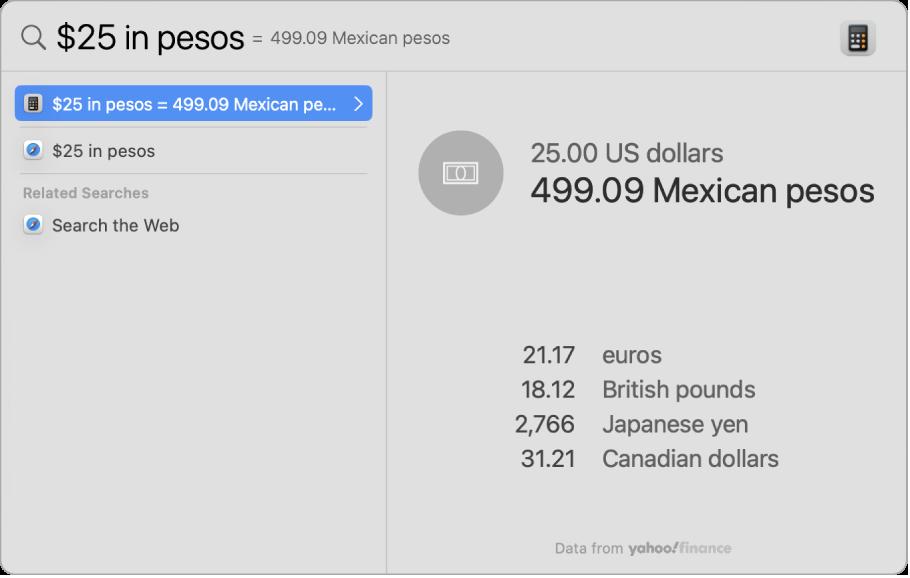 Capture d'écran affichant une conversion de dollars en pesos, avec le meilleur résultat de la conversion et d'autres résultats sélectionnables.