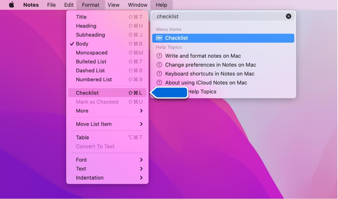 Le menu d'aide présentant une recherche dont le terme est «liste» et la commande «Liste à puces» surlignée dans la liste des résultats et dans le menu Format.