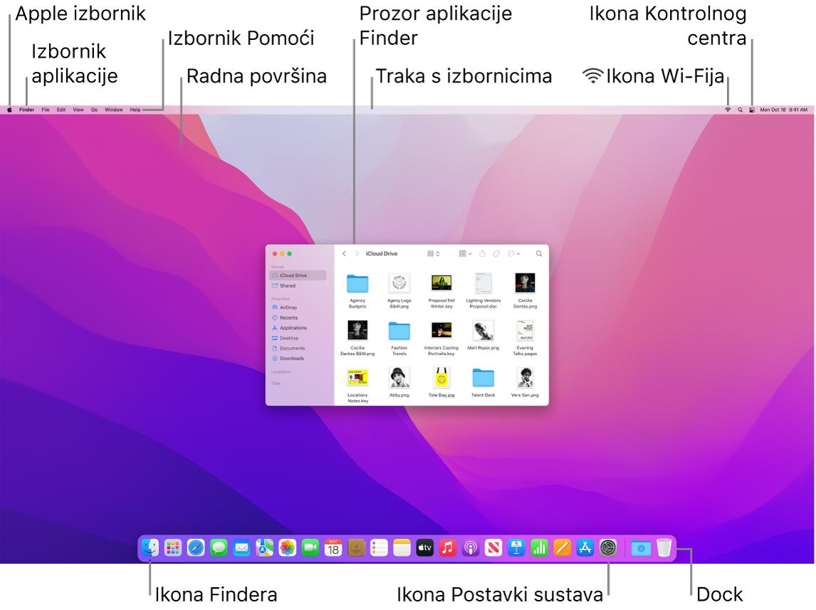 Zaslon Maca prikazuje Apple izbornik, izbornik aplikacija, izbornik Pomoći, radnu površinu, traku s izbornicima, prozor Findera, ikonu Wi-Fi statusa, ikonu Kontrolnog centra, ikonu Pitajte Siri, ikonu Findera, ikonu Postavki sustava i Dock.