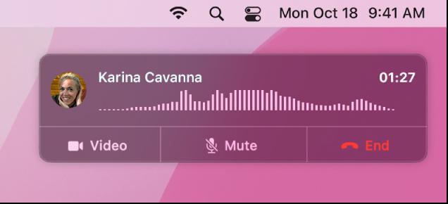 Dio zaslona Maca koji prikazuje prozor obavijesti o pozivu.