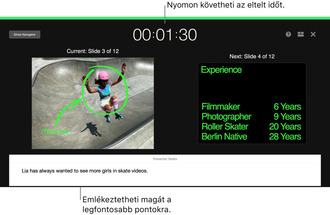 A Keynote ablaka a Diabemutató-próba funkcióval.