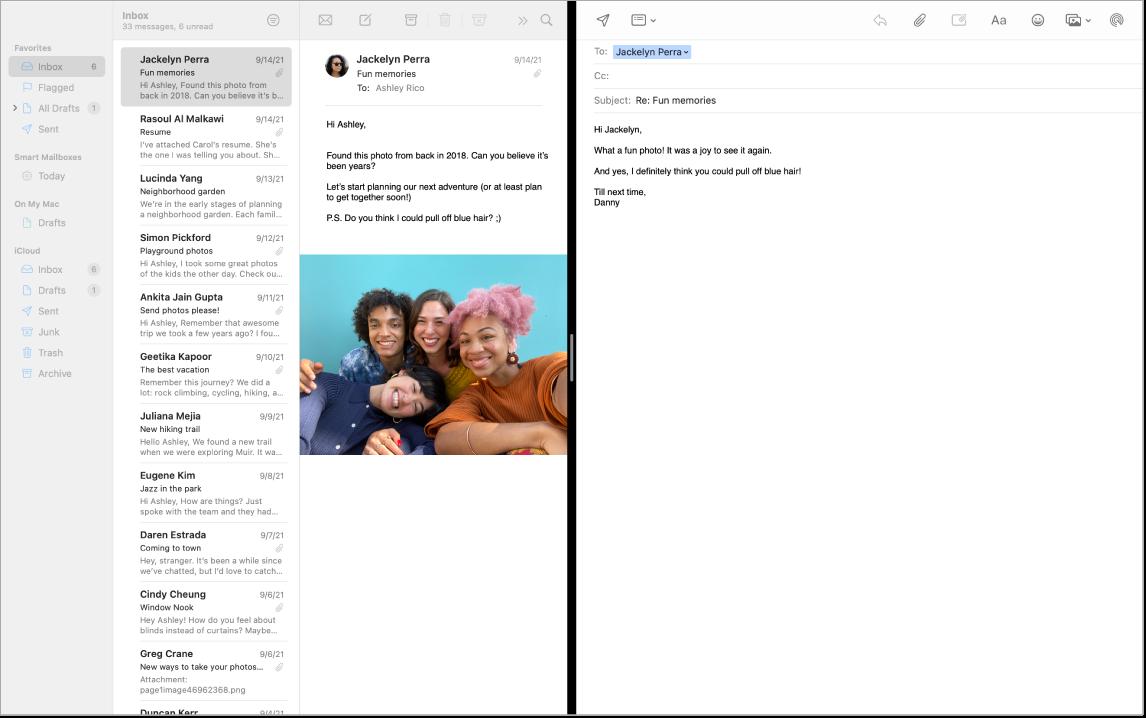 Egy Mail-ablak osztott képernyőn; a két üzenet egymás mellett látható.