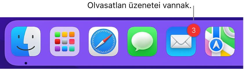 A Dock egy szakasza, amelyen a Mail alkalmazás ikonja látszik, olvasatlan üzeneteket jelölő jelvénnyel.