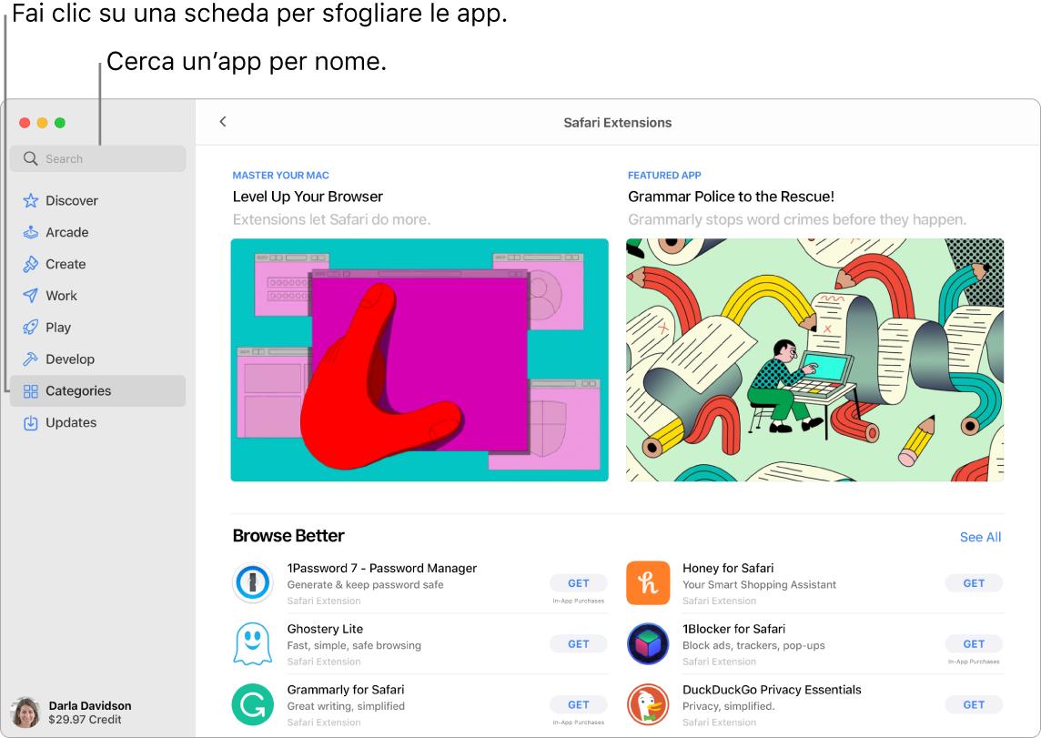 Finestra di App Store che mostra il campo di ricerca e una pagina delle estensioni di Safari.