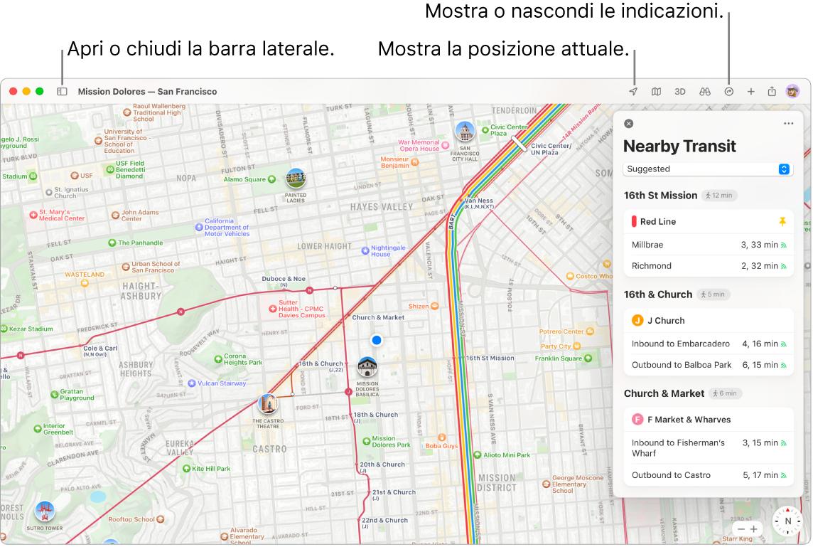Una finestra di Mappe che mostra come ottenere indicazioni facendo clic su una destinazione nella barra laterale, come aprire o chiudere la barra laterale e come trovare la tua posizione attuale sulla mappa.