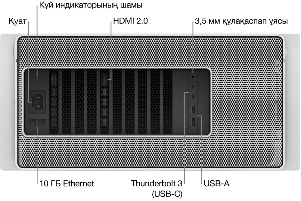 Қуат портын, күй көрсеткішінің шамын, екі HDMI 2.0 портын, 3,5 мм құлақаспап ұясын, екі 10 Гигабит Ethernet портын, екі Thunderbolt3 (USB-C) портын және екі USB-A портын көрсетіп тұрған Mac Pro компьютерінің артқы көрінісі.