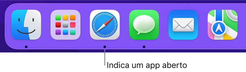 Uma parte do Dock exibindo pontos pretos abaixo dos apps abertos.