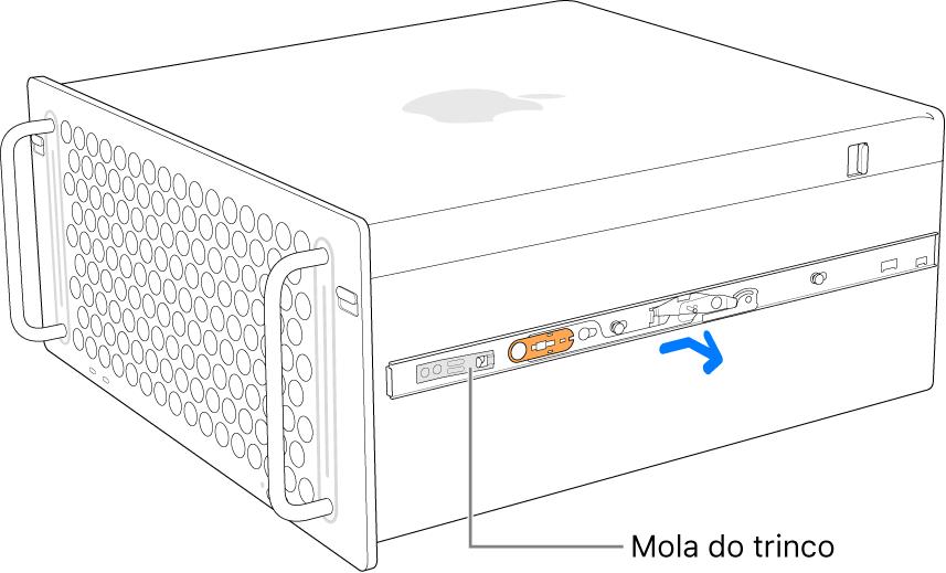 Uma calha a ser desmontada da parte lateral do Mac Pro.