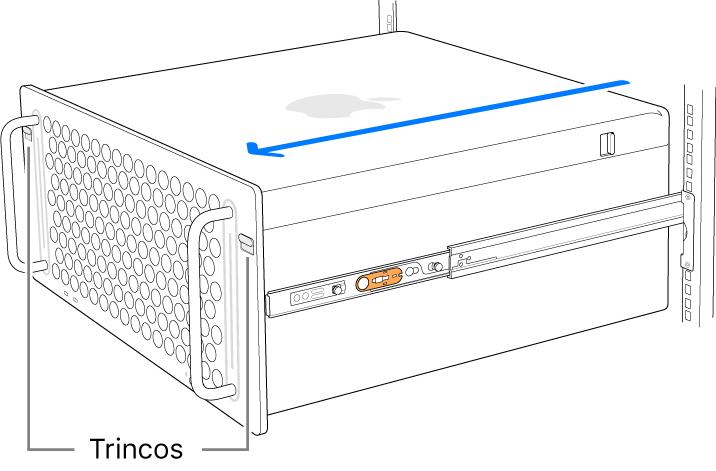 Mac Pro apoiado nas calhas fixas a um suporte.