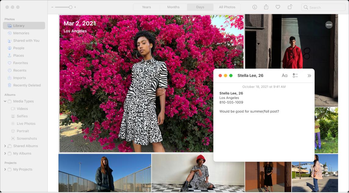 Uma janela da aplicação Fotografias com uma colagem de fotografias e uma nota rápida acerca de um dos modelos na fotografia maior.