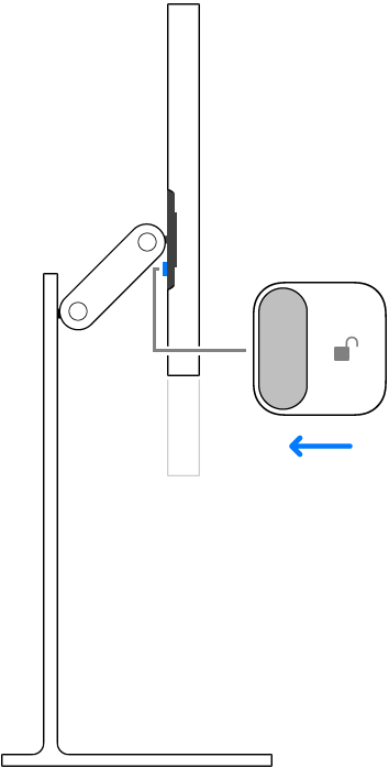 A close view of the lock on the magnetic connector being unlocked.
