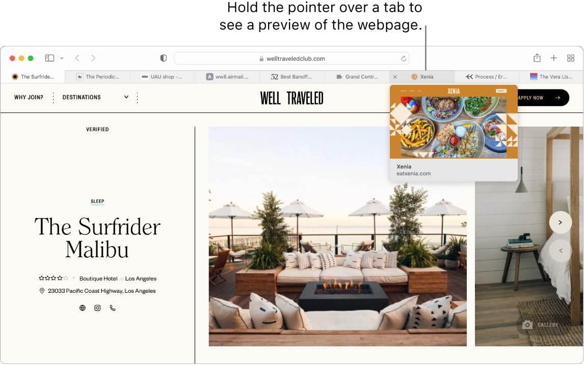 """A Safari window with an active webpage called """"Well Traveled"""", along with 9 additional tabs, and a callout to a preview of the """"Grand Central Market"""" tab with the text """"Hold the pointer over a tab to see a preview of the webpage."""""""