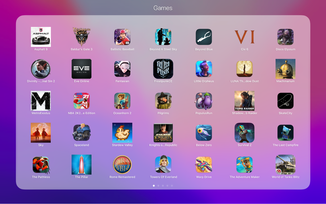 Game apps in the Games folder in Launchpad.