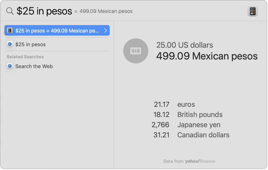 A screenshot showing dollars converted to pesos, with a top hit showing the conversion and several other selectable results.