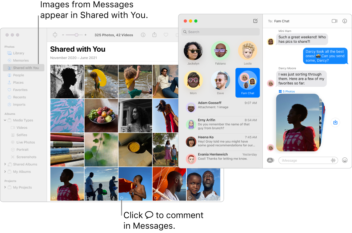 A Messages conversation on the right with a stack of photos, and the Shared with You section of a Photos window showing photos shared from the Messages app.