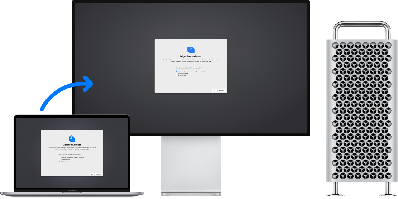 A MacBookPro and a MacPro with connected display. The Migration Assistant appears on both screens and an arrow from the MacBookPro to the MacPro implies the transfer of data from one to the other.