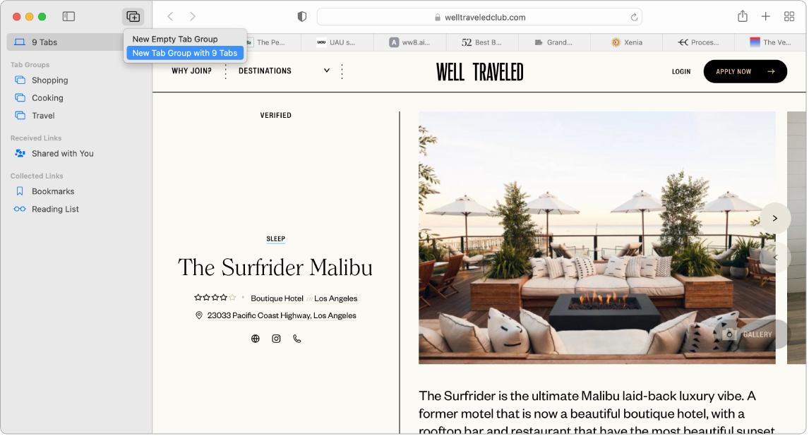 A Safari page showing the open sidebar, with the Tab group menu showing, along with sidebar items Tab Groups, Received Links (Shared with You), and Collected Links (Bookmarks, Reading List).