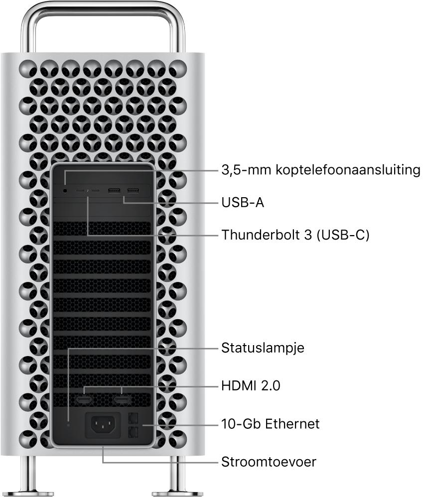 De zijkant van de MacPro met de 3,5-mm koptelefoonaansluiting, twee USB-A-poorten, twee Thunderbolt3-poorten (USB-C), een statuslampje, twee HDMI2.0-poorten, twee 10Gigabit Ethernet-poorten en een poort voor het netsnoer.