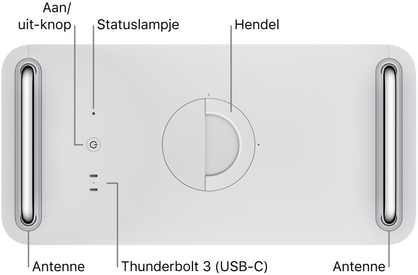 De bovenkant van de MacPro met de aan/uit-knop, een indicatielampje voor het systeem, een vergrendeling, een antenne en twee Thunderbolt3-poorten (USB-C).