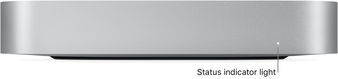 The front of Mac mini showing the status indicator light.
