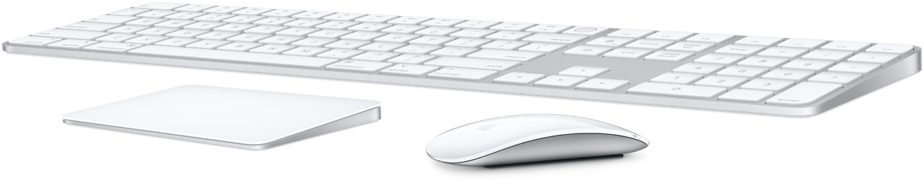 An image of a wireless keyboard, trackpad, and mouse.