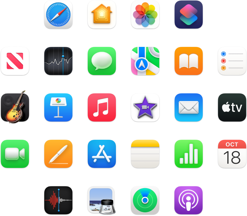 Icons of apps included with your Mac mini.