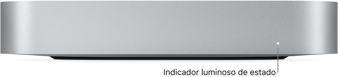 La parte frontal de la Macmini mostrando el indicador luminoso de estado.