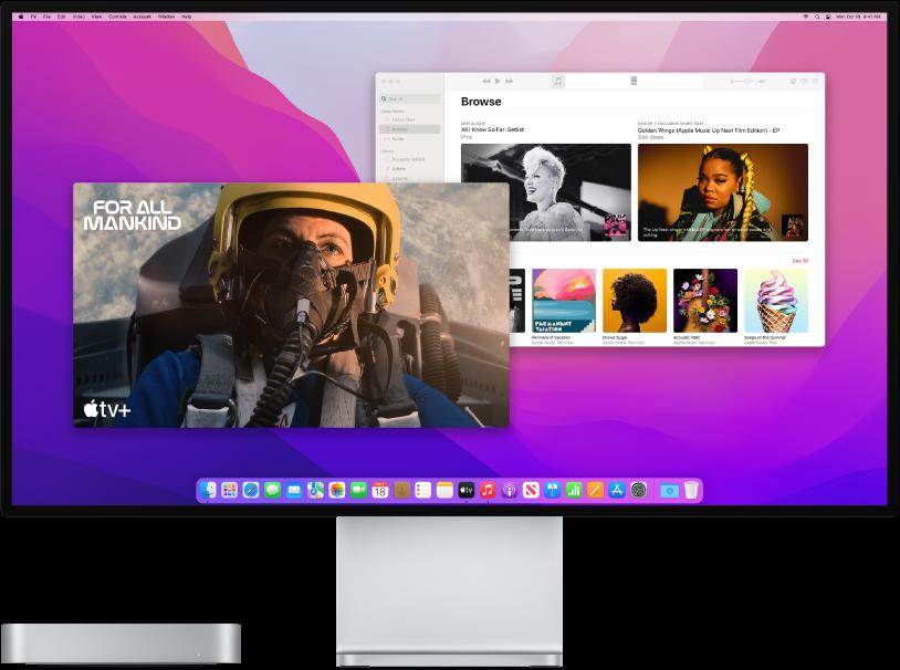 El Macmini junto a una pantalla.
