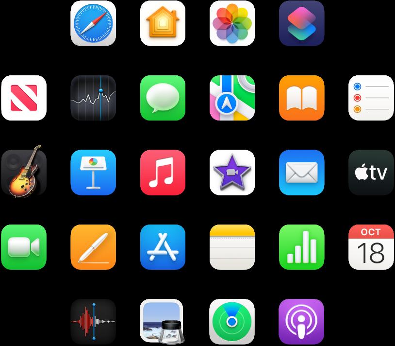 Ikony aplikacji dołączonych do Maca mini.