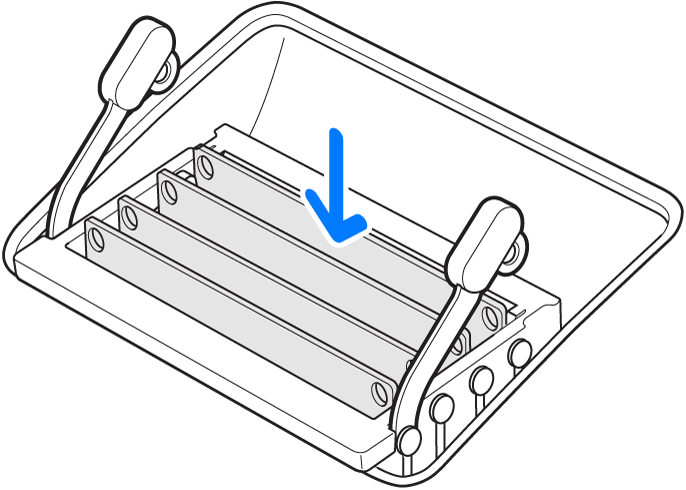 An illustration showing where to replace or install a memory module.