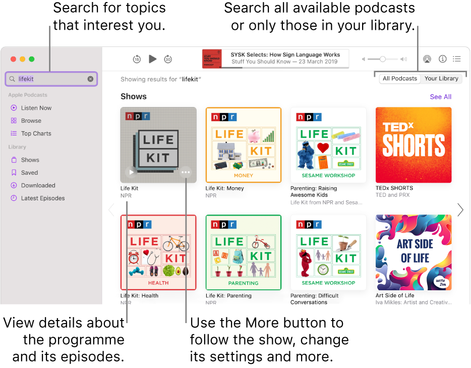 The Podcasts window showing text entered in the search field in the top-left corner, and episodes and shows matching the search of all podcasts in the screen to the right. Click the link below the show to view details about the show and its episodes. Use the show's More button to follow the show, change its settings and more.