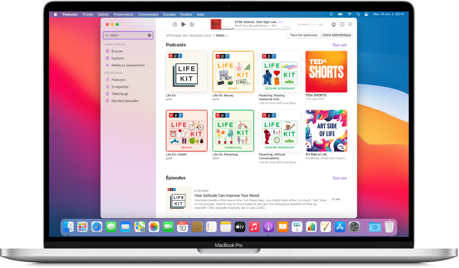 Fenêtre ApplePodcasts affichant une chaîne de recherche et les résultats.