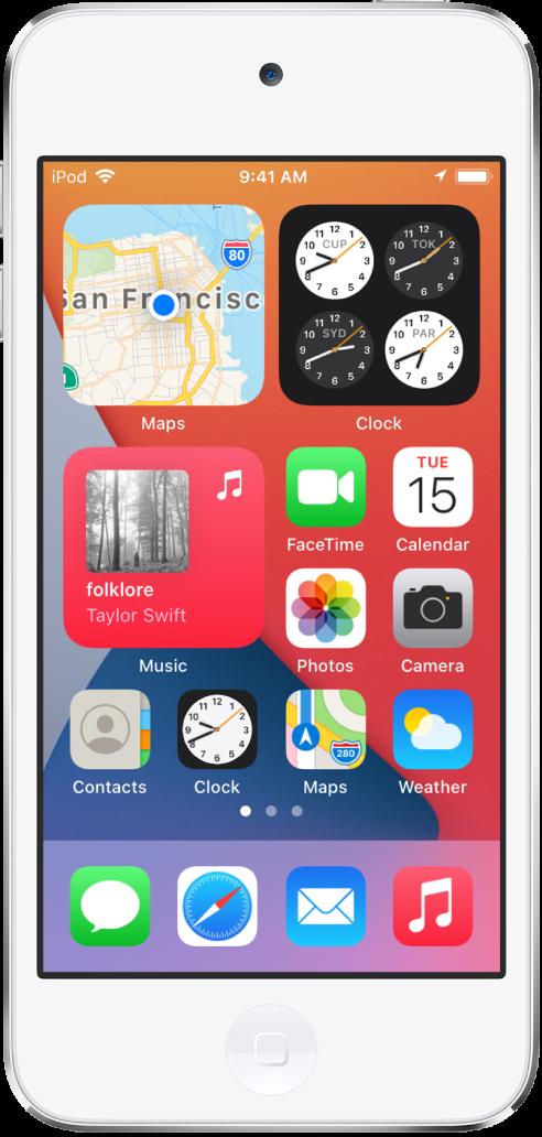 """Der Home-Bildschirm des iPodtouch. In der oberen Hälfte befinden sich die Widgets """"Karten"""", """"Uhr"""" und """"Musik"""". Rechts neben dem Widget """"Musik"""" und in der unteren Hälfte des Bildschirms befinden sich Apps."""