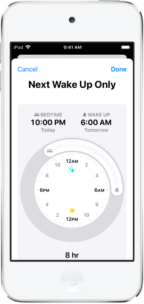 The setup screen for Sleep in the Health app for Next Wake Up Only. There's a clock in the middle of the screen; Bedtime is set for 10:00 p.m. and wake up is set for 6:00 a.m.