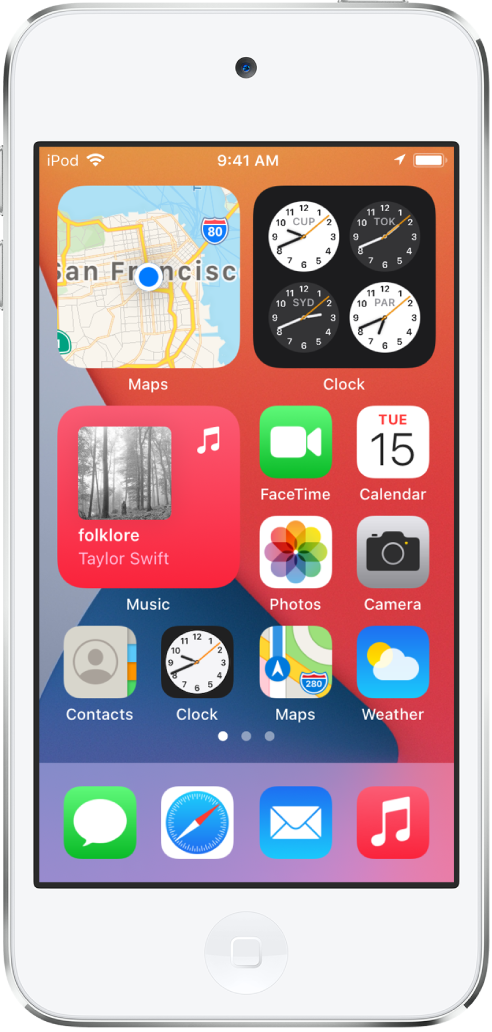 The iPod touch Home Screen. In the top half of the screen are the Maps, Clock, and Music widgets. To the right of the Music widget and along the bottom half of the screen are apps.