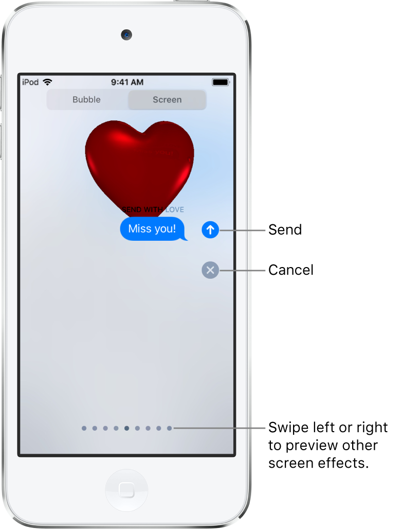 A message preview showing a full-screen effect with a red heart.