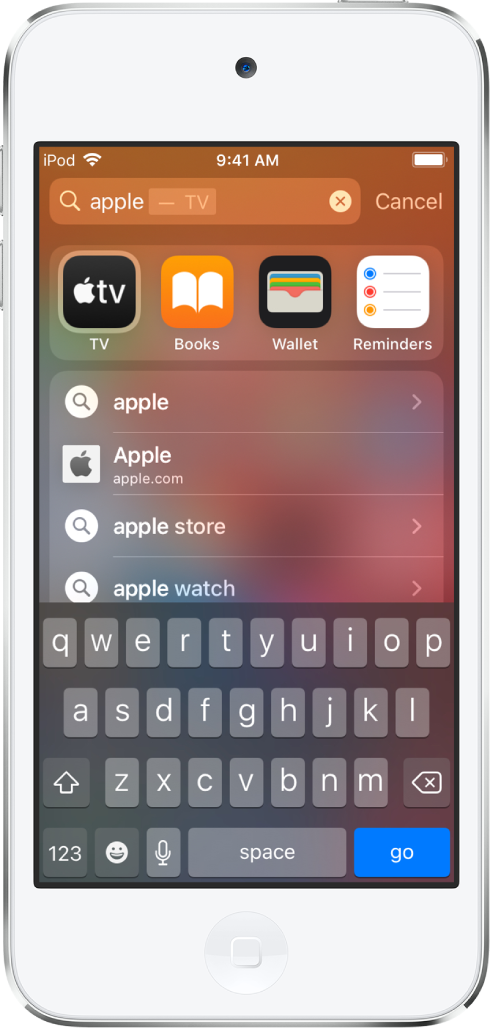"""A screen showing a search query on iPod touch. At the top is the search field that contains the search text """"apple,"""" and below it are search results found for the search text."""